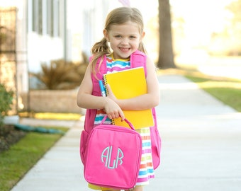Hot Pink Girls Monogrammed Lunch Box, Monogram Lunch Bag, Back to School