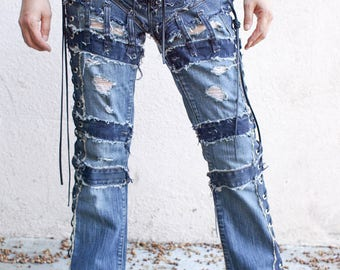 Dameged Vintage Blue jeans chopper style