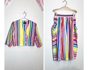 Vintage 1980s Deadstock Rainbow Stripe Two Piece Coordinate Crop Top and Skirt Set