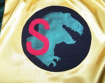 Dinosaur T Rex Superhero Cape Washable Satin Initial or Name Personalized