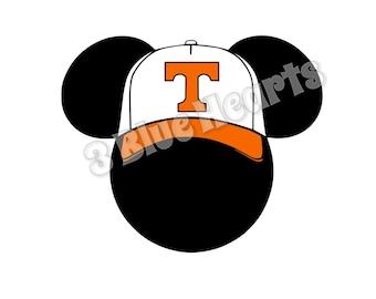 Tennessee Mickey Head, Baseball Mickey Head, Tennessee Mickey Head SVG DxF PDF Studio, Mickey Head, Disney SVG dxf pdf Studio, Baseball Cap
