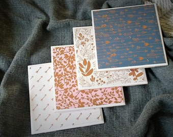 Set of 4 Coasters-Repurposed Ceramic Tile-Rose Gold Foil