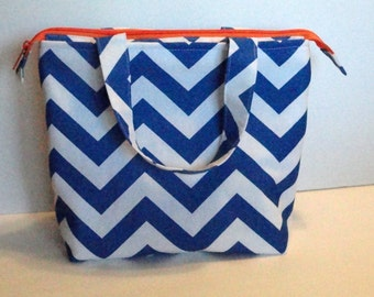 Lunch Bag, Adult Lunch Tote Bag, Insulated, Womens Lunch Bag, Zipper Top, Inside Pockets, Cobalt Blue and Orange,  Made To Order