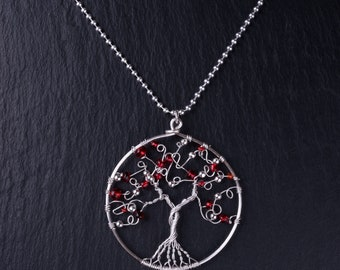 Sterling silver wire tree pendant (Red)