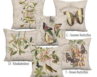Beige Grain Sack Style Birds and Butterflies Linen Cotton Farmhouse Pillow Cover - Pillow - 16x 18x 20x 22x 24x 26x 28x Inch Cushion Cover