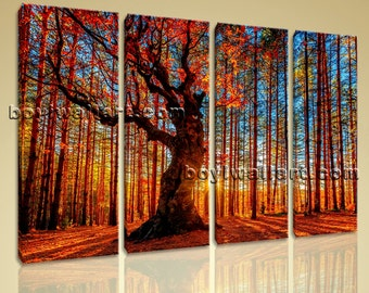 Large Forest Trees Landscape Photography Wall Art HD Giclee Print Living Room, Large Forest Wall Art, Living Room, Saddle Brown