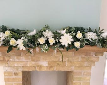 Elegant artificial wedding garland, cream wedding garland, luxury wedding garland, wedding decoration,staircase garland,top table decoration