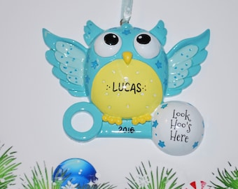 Personalized Look Hoo's Here Baby's First Christmas Owl Ornament (Boy)