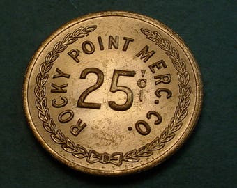 Indian Trader Trade Token Gallup NM Rocky Point Merc. Co. GF 25 cents In trade Mint Cond. <># ET6073