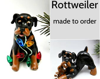 Rottweiler Dog Porcelain Christmas Ornament Figurine Made to Order