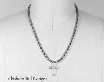 Navajo Pearl Sterling Silver 4mm Bead Necklace with Fine Silver Cross