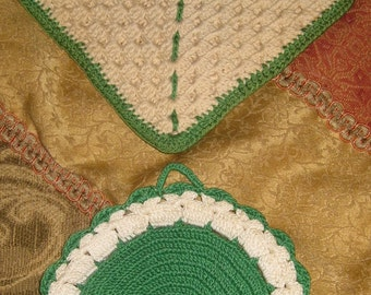 Go Green with Hand Made Crochet Decorative Pot Holders, Vintage