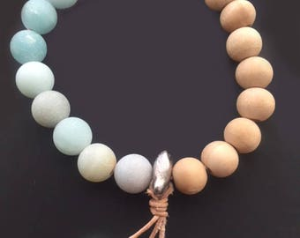 Bracelet - Seashore frosted glass and seeds beads