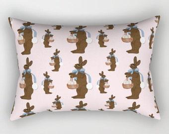 Rectangular Throw Pillow, Chocolate Easter Bunny
