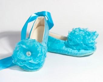 Pool Blue Silk Flower Girl Shoe, Baby Christening, Easter Toddler Ballet Flat, Girl Wedding Shoe, Spring Wedding Ballet Slipper, Baby Souls