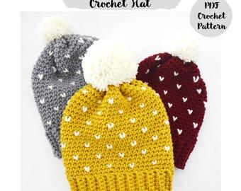 Patrón Ganchillo Crochet Tutorial Paso a Paso Gorro Fair Isle con Pompon, todas las edades, bebe, niño, adolescente, adulto,