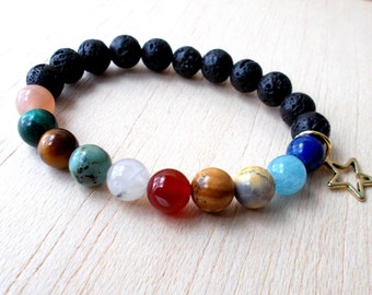 Solar System Jewelry Space Bracelet, Sun and Moon Bracelet, Galaxy Bracelet, Planet Jewelry,Beaded Bracelet, Astronomy Gifts, Sun Moon Stars
