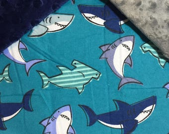 Sharks, Navy Blue, Teal, Gray Baby Blanket