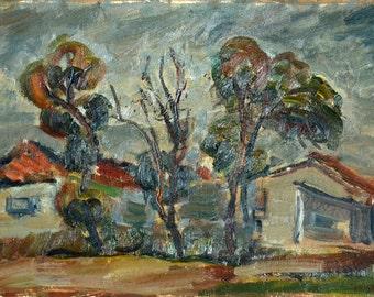 Oil on Canvas Painting Original Art by Izhak Feier - Landscape, Unique Art