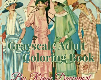 PDF of Flappers Fashions Grayscale Adult Coloring Book by Renee Davenport
