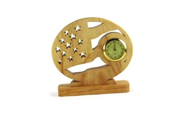 Patriotic American Flag Desk Or Shelf Clock Handmade From Ash Wood By KevsKrafts