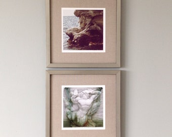 Fine Art Photography Set, Wall Decor Set of Two, Art Print Set, Wall Art Set of Prints, Mermaid & Triton Romantic Art for Bedroom, Beach Art