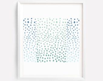 Dots Art, Abstract Art, Nursery Print, Bedroom Print, Blue Green Wall Print, Nursery Print, Blue Green Wall Art, Modern Print, Kids Wall Art
