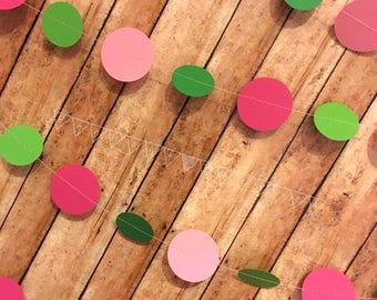 Baby Shower Garland, Pink Green Paper Garland, Turtle Baby Shower Decor, Baby Girl Shower Garland, It's a Girl Baby Shower,  Circle Garland,