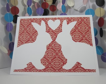 Bunny Love Card - Easter rabbit - red white - anniversary - wedding - any occasion - bunny lover - donation card