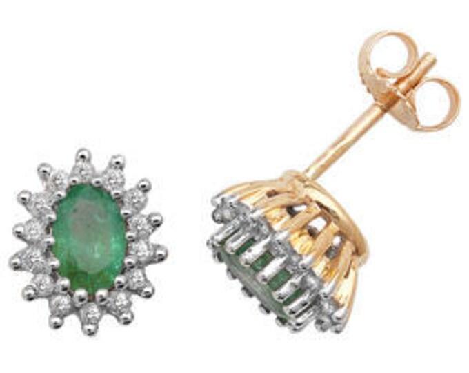 Emerald Diamond OVAL Stud Cluster 6X4 S Earring May Birthstone