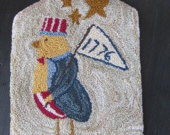 Primitive Punch Needle Paper Pattern ~ Uncle Sam Chicken ~ Patriotic Folk Art - PunchNeedle Pattern - Americana Needle Punch