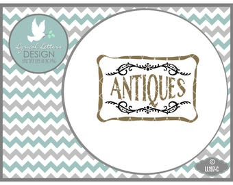 Antiques with Frame Vintage Farmhouse Style LL197 C - SVG - Cut File - Includes ai, svg, dxf (for Silhouette users), jpg, png
