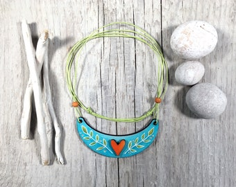 Hand-painted Wooden Necklace - Heart Necklace - Turquoise Boho Jewelry - Summer Gift - Adjustable Necklace for Her - Colorful Wooden Jewelry