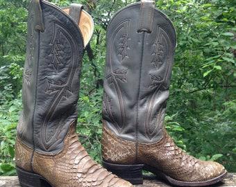 Tony Lama Cowboy Cowgirl Boots / Python / Distressed / Grey / 5B / Made in USA - El Paso, Texas