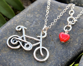 Bicycle Necklace - sterling silver bike charm on sterling chain with red glass heart on clasp - birthstone colors too - free shipping USA