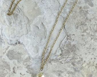 Antique brass tassel necklace