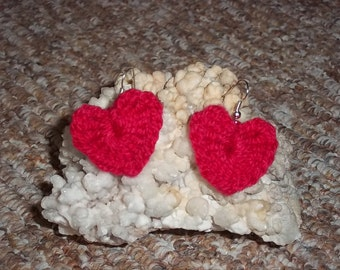 Red, crochet heart shape earrings