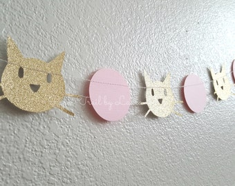 Pink and GOld KITTY CAT Garland, Photo Prop, Birthday Party Decorations.  Kitty Party Decorations.  7 Feet
