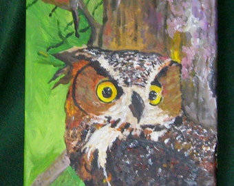 Art, Painting, Acrylic,Owl, 9x12inches, Wrapped Canvas, Fine Art