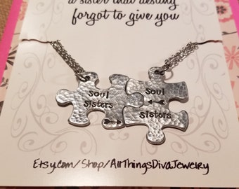 SOUL SISTERS necklace set with poem-handstamped arrow puzzle pieces