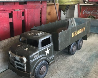 Lumar Toy Army Truck |  Pressed Steel Toy U.S. Army Truck