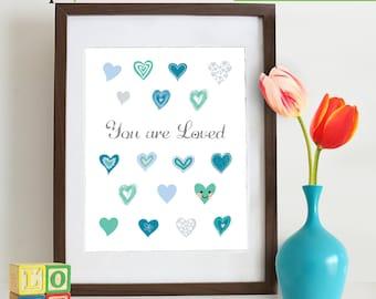 Heart Print, You are Loved  print, Love quote, Cute hearts, Hand drawn hearts, Modern nursery print, Nursery Print, Kids print  Item 124