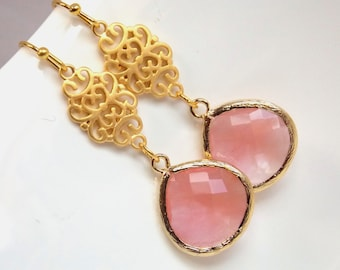 Peach Earrings, Coral Earrings, Glass Earrings, Drop, Dangle, Gold Earrings, Wedding Jewelry, Bridesmaid Earrings, Bridesmaid Gift, Long