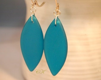 Recycled Sea Glass Earrings Dark Aqua Blue Dangle Pierced or Clip-on Earrings Beach Jewelry Sea Glass Jewelry Cruise Wear Earrings