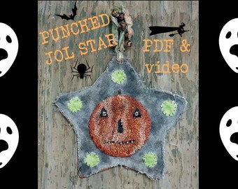 Primitive Punch Needle Pattern Halloween JOL Hanging Star WITH Video PDF Epattern Download  Hickety PIckety