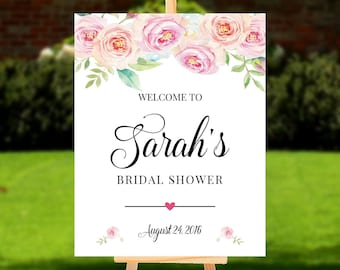 Welcome to Bridal Shower sign, Printable Digital, Personalized Floral Baby Shower Sign, Welcome to Party sign DIGITAL FILES, Rose4