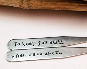 Anniversary Gift for Him, Personalized Collar Stays, Stainless Steel Collar Stays,Gift For Husband - Shirt Stays - Silver - Anniversary