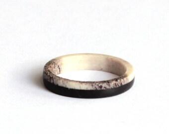Black Wood Ring, Antler Ring, Womans  Wedding band, Dainty Wedding Ring