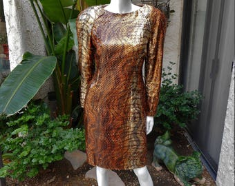 Vintage 1980's Copper & Gold Metallic Cocktail Dress with Sequins - Size 10
