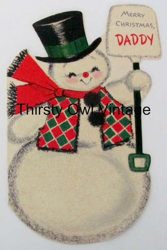 Digital Download Vintage Christmas Image 1960s Hallmark Card Snowman Merry Daddy Printable From